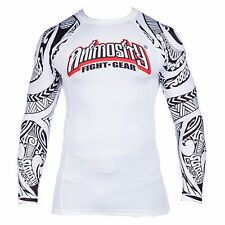 ANIMOSITY FIGHT GEAR RASHGUARD TRIBAL2 WHITE NOGI/GRAPPLING/MMA/WRESTLING