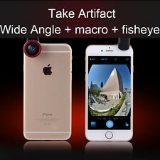 Universal 3in1 Clip On Camera Lenses Fisheye +Wide Angle +Macro Cell Phone Set