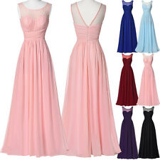 Long Chiffon Evening Formal Party Ball Gown Prom Bridesmaid Dress UK Size 18