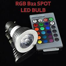 NEW 5W B22 RGB LED BULB 16 COLOR CHANGE WITH REMOTE CONTROL FOR HOME DECOTATION