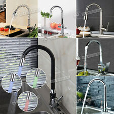 Professional Modern Deck Mount Kitchen Taps Pull Out Mixer Swivel Brushed Taps