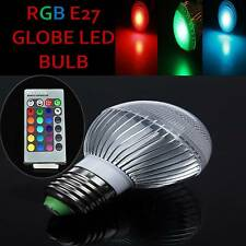 E27 5W Globe RGB Color Changing Dimmable LED Light Lamp Bulb With Remote Control