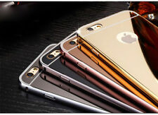 Luxury Metal Bumper Acrylic Mirror Back Cover Case For Apple iphone (Gold)