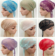 Women Muslim Arab Scarf Lace Fancy Hijab Islamic Headwear Inner Caps Sports Hats