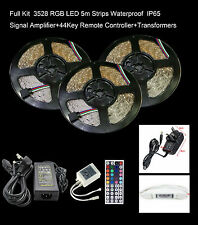 10/15/20M SMD 3528RGB IP65 LED Strip Light Full Kit Remote+Controler+Adapter