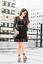 Self-Portrait A Line Lace Up Dress Black Brand New BNWT UK 8 12 Sold Out!