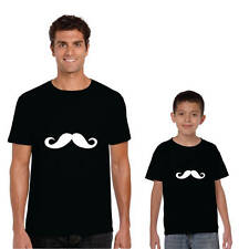 Moustache Dad And Child Family T-shirts - Cotton