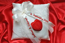 Personalised wedding ring cushion / pillow with lace and rings holder- 86 colors
