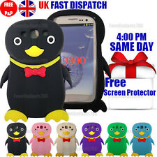 PENGUIN SILICONE GEL CASE & FREE SCREEN PROTECTOR Fits Galaxy S3 i9300