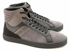 Sneakers alte Hogan Rebel uomo in camoscio marrone