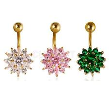 Sparkly Flower Zircon Navel Ring Belly Button Bar Body Piercing Jewellery