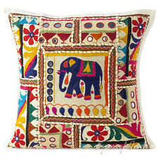 "LARGE SELECTION - 16"" WHITE PATCHWORK SOFA THROW PILLOW CUSHION COVER Boho India"