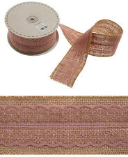 Hessian Pink Lace Ribbon 60mm - Jute Burlap Vintage Wedding Rustic Sewing Craft