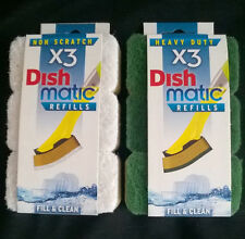 Dish Matic Refill Scourer Heavy Duty Non Scratch Green White Sponge x 3
