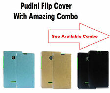 Pudini Leather Flip Cover Case For Nokia Lumia 435 With Amazing Combo