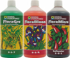 (GHE2) GHE FLORA GROW BLOOM MICRO.HARD/SOFT WATER, DIAMOND NECTAR, RIPEN 1Ltr
