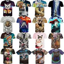 Galaxy Space Taco Cat Funny 3D T-Shirt Women Men Casual Tee Cotton Top Plus Size