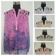Italian Ladies Silk Sleeveless Floral Crochet Design Sequin Collar Blouse