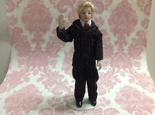Dollhouse Miniature Porcelain Suit Blonde Men Poseable Ceramic Doll 1:12 Stand