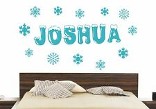 FROZEN PERSONALISED NAME SNOWFLAKES DISNEY WALL ART DECAL STICKER BEDROOM DIY