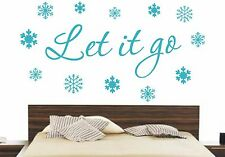 LET IT GO DISNEY FROZEN SNOWFLAKES WALL ART DECAL STICKER BEDROOM DIY HOME