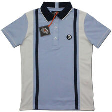 LADIES TROJAN SLIM FIT STRIPED RETRO MOD SKA POLO SHIRT TR 8141 - SKY BLUE