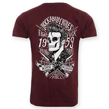 King Kerosin Vintage Retro Biker T-Shirt Rot - Rockabilly Blades Skelett