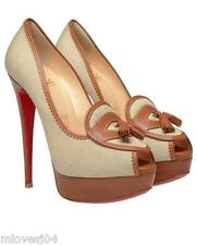 Christian Louboutin Brown Campus Canvas Platform Pumps Heels Shoes BNIB 7 EU 40