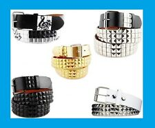 Music Notes & Piano Whites 3-Rows Metal Pyramid Studded Leather Belt Mens Womens