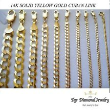 """2.2MM 14MM 14K SOLID YELLOW GOLD CUBAN LINK WOMEN/ MEN'S NECKLACE CHAIN 7.5""""-24"""""""