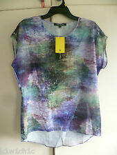 BNWT ELLEN REYES Original - CostCo - Green / Purple Abstract Blouse Tunic Top