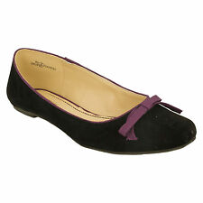 SALE LADIES F8764 FLAT CASUAL BOW DETAIL BALLERINA DOLLY SLIP ON SHOES SPOT ON