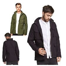 MENS CASUAL BRAVE SOUL LIGHTWEIGHT COLLARED ZIP UP 4 POCKET MILITARY JACKET COAT