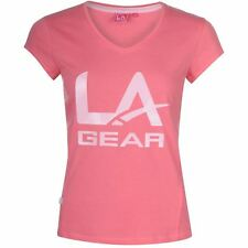 LA Gear Large Logo V Neck T Shirt Ladies Pink Size 10 (S)