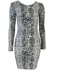 New Women Scoop Neck Snake Print Bodycon Mini Dress UK Size 8-14
