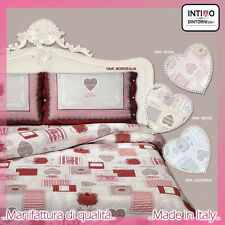 COMPLETO LENZUOLA TIROLESE CUORI ROYAL MATRIMONIALE 100%COTONE MADE IN ITALY