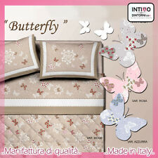 COMPLETO LENZUOLA FARFALLE BUTTERFLY SINGOLO 100%COTONE MADE IN ITALY