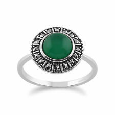 925 Sterling Silver Art Deco 1.42ct Green Chalcedony & Marcasite Ring