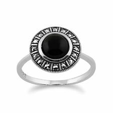 925 Sterling Silver Art Deco 1.20ct Black Onyx & Marcasite Ring