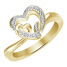 14K Gold Over 925 Sterling Silver White Diamond Intertwined Heart Promise Ring
