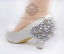 LADIES NEW CRYSTAL IVORY CLOSED PEEP TOE LOW MID HIGH HEEL SHOES BRIDAL WEDDING
