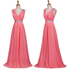 Sexy WOMENS Long Dress V-Neck Chiffon Formal Party Evening Ball Gown Bridal Prom