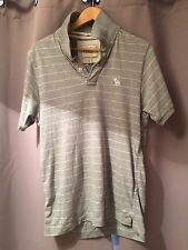 ABERCROMBIE AND FITCH PINSTRIPE POLO SHIRT GREY LARGE