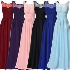 Womens Formal Long Chiffon Prom Evening Party Bridesmaid Maxi Dress Ball Gown