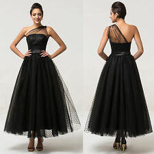 Tea length Black Ball Gowns One Shoulder Tulle Evening Prom Party Dress Size 14