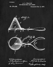Ice Cream Scoop Patent Print Cafe Wall Art Kitchen Poster Illustration
