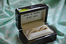 PERSONALIZED Wood &Leather Wedding Ring Bearer Box-alternative for rings cushion