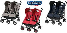 Peg Perego Passeggino Gemellare PLIKO MINI TWIN BEIGE RED NAVY New 2016