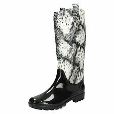 Ladies Spot On Snake Print Effect Wellington Boots X1133