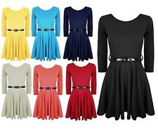 Womens Belted 3/4 Short Sleeves Flared Franki Party Ladies Skater Dress Top